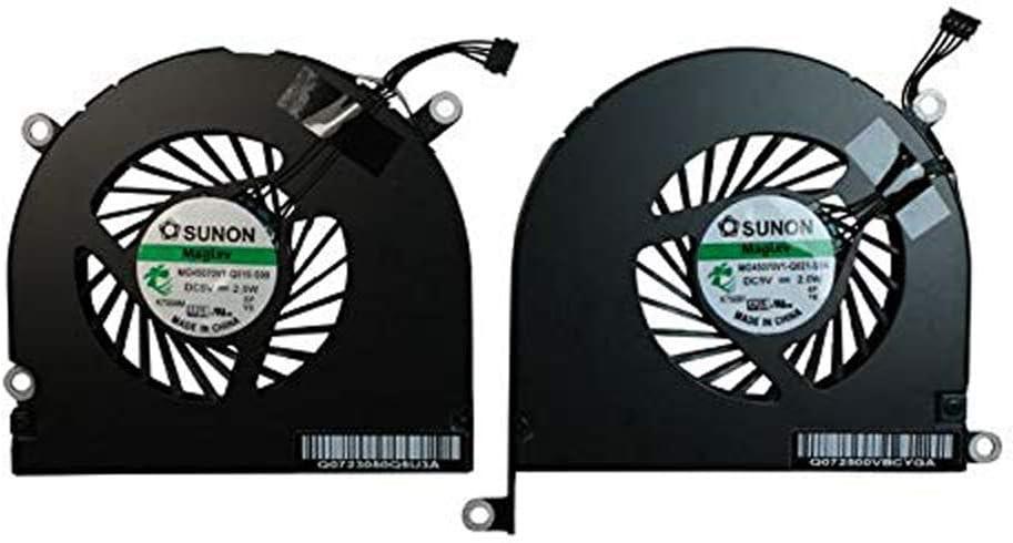 OLVINS Ventilador de la CPU Izquierda + Derecha para Apple MacBook Pro 17'' A1297 Ventilador de refrigeración 661-5044 661-5043 MG45070V1-Q010-S99 MG45070V1-Q021-S9A