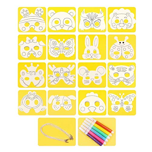 (qiaoniuniu Eye Masks to Decorate, Strong Card Carnival Masks, 16 Assorted Designs for Children to Paint, Creative Arts and Crafts kit for Ages 3 to 8 Kids Parties, with Paint pens)
