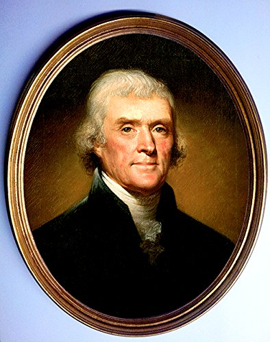 Oval Portrait Painting of Thomas Jefferson Framed Print By Rembrandt (Peale Painting)
