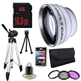 DM Optics 2X Telephoto Lens with 3 Piece Filter Kit and Tripod + 16GB SDHC Memory Card for Samsung HMXH100 HMXH104 HMXH105 HMXH106 Camcorders DavisMAX Accessory Bundle