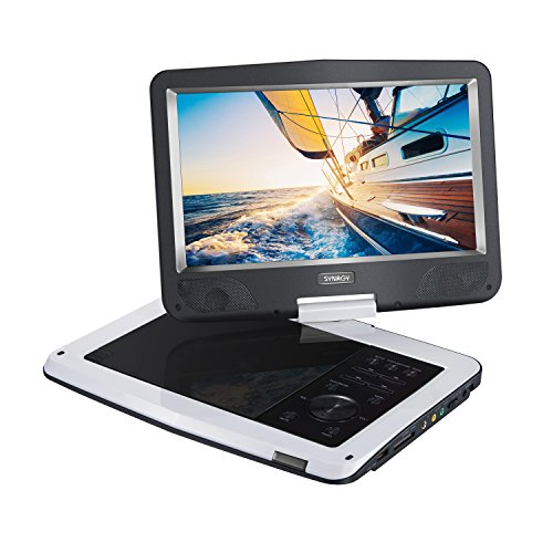SYNAGY 10.1inch Portable DVD Player CD Player (White) (12 Volt Cd Player Portable)