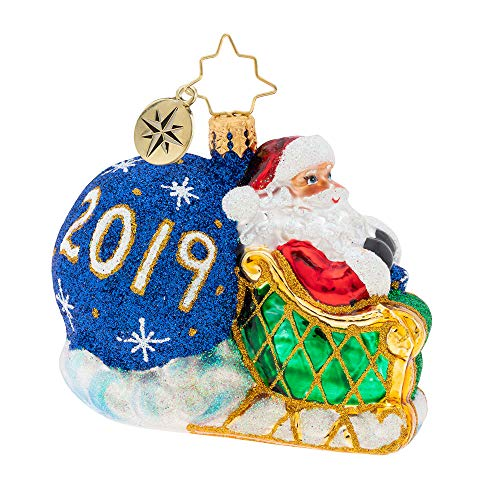 (Christopher Radko No No Looking Back Little Gem Christmas Ornament, Blue, White)