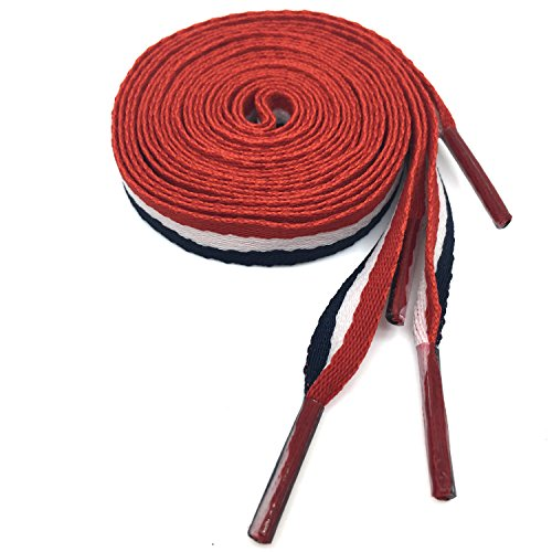 (1Pair Wide Red White Blue Block Color Flat Shoelace Colorful Shoelaces YJRVFINE Fashion Canvas Shoe Laces for Shoes Sneakers 47.24