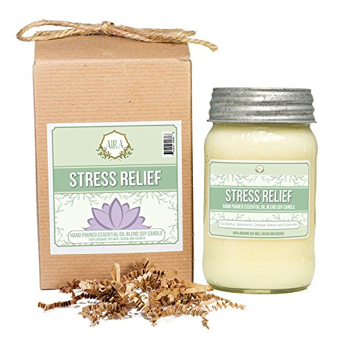 Aira Soy Candles - Organic, Kosher, Vegan, in Mason Jar w/ Therapeutic Grade Essential Oil Blends - Hand-poured 100% Soy Candle Wax - Paraffin Free, Burns 110+ Hours -Relaxing Stress Relief -16 Ounces (Wax Organic Candle)