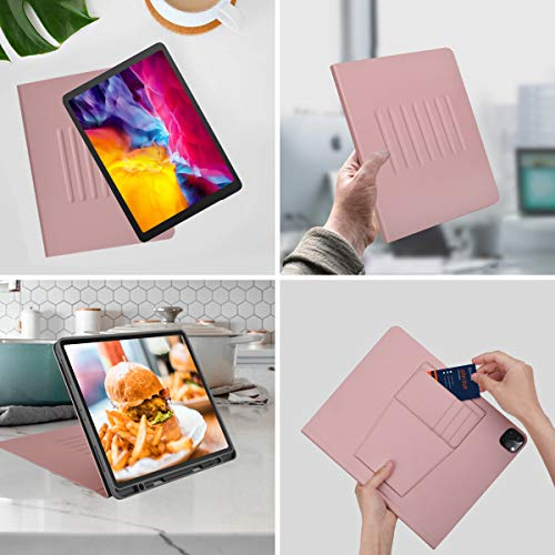 iPad Pro 12.9 Case 2020 4th Generation Leather Magnetic Cover Stand 7 Viewing Angles with Pencil Holder and Minimalist Pocket - Supports Apple Pencil Charging- Auto Wake/Sleep Folio