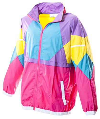 80s Outfit Male (Funny Guy Mugs Like Totally 80s & 90s Retro Neon Windbreaker,)