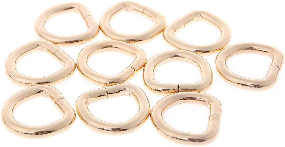 MYhose Anillo en D 10 Piezas 15 mm Bolso de Metal Bolso de Cuero Monedero Correa Cintur/ón Web Anillo en D Cierre de Hebilla Bronce