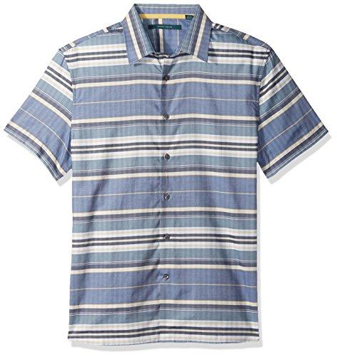 Perry Ellis Men's Short Sleeve Horizontal Multi-Color Stripe Shirt , Bijou Blue, Medium ()