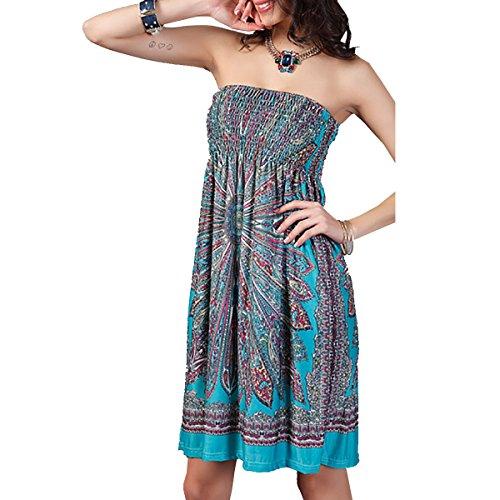 QBQ floral Traje baño Bandeau Sun étnicos Mujeres de Beach Boho tirantes sin Up Cover verde baño de delgado 02 Vestido Style traje f7wfqrS