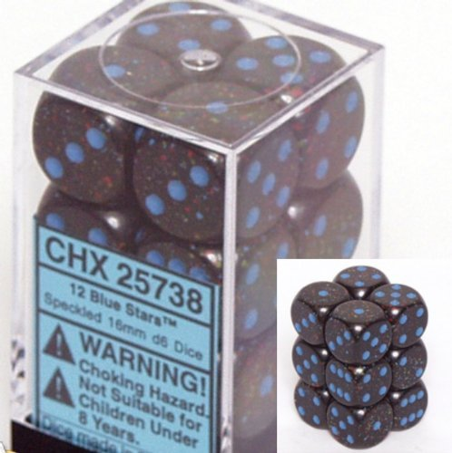 Chessex D6 Speckled - Chessex Dice d6 Sets: Blue Stars Speckled - 16mm Six Sided Die (12) Block of Dice