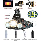 Brightest LED Headlamp Flashlight,Zoomable 8000-Lumen,4-Mode Hard Hat Work Light,Waterproof Fishing Hunting Head Lamp,COSOOS Headlight Kit with Rechargeable 18650 Lithium Battey,Support AAA Battery