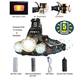 #10: Brightest LED Headlamp Flashlight,Zoomable 8000-Lumen,4-Mode Hard Hat Work Light,Waterproof Fishing Hunting Head Lamp,COSOOS Headlight Kit with Rechargeable 18650 Lithium Battey,Support AAA Battery