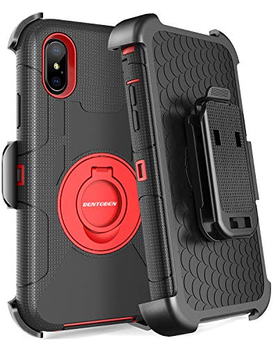 BENTOBEN Case for iPhone Xs Max,Heavy Duty Rugged Hybrid Hard PC Cover Soft Silicone Shockproof Full Body Protective Phone Case with Kickstand Belt Clip Holster for iPhone Xs Max 2018 6.5 Inch,Red