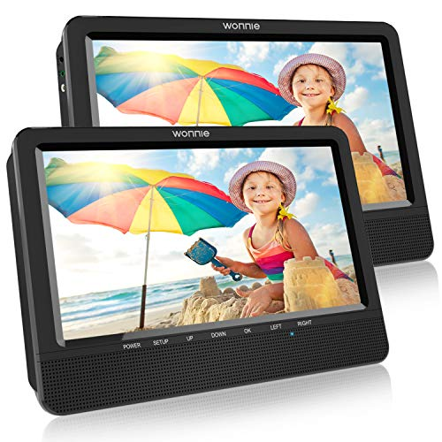 10.5'' Dual Screen DVD Player for Car Headrest Portable DVD Player with Games for Kids, SD/USB Slot (Black)