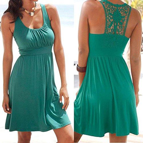 la cuello Vestido de sin Vestido Ropa ocasional del de mujer de las mujeres casual o playa las Vestido de cordón sólido costuras mujer DOGZI fiesta del Verde mangas w0qSPw