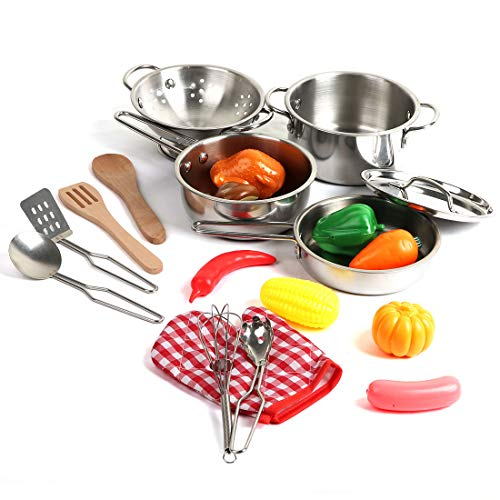 20 Pieces Kids Pots and Pans,Stainless Steel Cookware Toys for Kids Toddler, Pretend Play Cooking Toys with Utensils and Grocery Play Food for 2 3 4 5 6 7 Girls ()