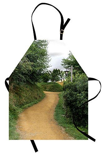 Ambesonne Hobbits Apron, Elf Path in Woods of Hobbit Land in The Shire New Zealand Movie Set Image Print, Unisex Kitchen Bib Apron with Adjustable Neck for Cooking Baking Gardening, (Male Wood Elf Costume)