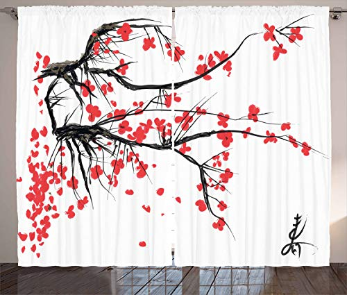 Ambesonne Nature Curtains, Sakura Blossom Japanese Cherry Tree Garden Summertime Vintage Cultural Print, Living Room Bedroom Window Drapes 2 Panel Set, 108 W X 63 L Inches, Grey and Vermilion from Ambesonne
