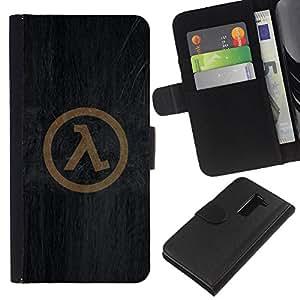 LECELL--Cuero de la tarjeta la carpeta del tirón Smartphone Slots Protección Holder For LG G2 D800 -- Símbolo Half Life --