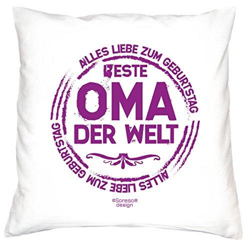 Schönes Geschenk zum Geburtstag - Beste Oma der Welt - Kissen mit Füllung - Dekokissen Zierkissen Sofakissen Couchkissen Farbe: weiß