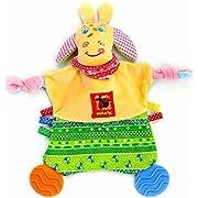 Newborn Toys - Baby Teething Blanket - Security Blanket - Activity Blanket for Boys and Girls - Snuggle Teether - Crinkle Blanket 0 3 6 month