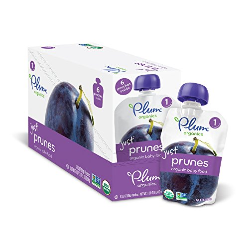 Puree Plum - Plum Organics Stage 1, Organic Baby Food, Just Prunes, 3.5 ounce pouch (Pack of 12)