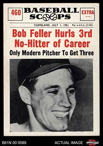 - 1961 Nu-Card Scoops # 460 Hurls 3rd No-Hitter of Career Bob Feller Cleveland Indians (Baseball Card) Dean's Cards 5 - EX Indians