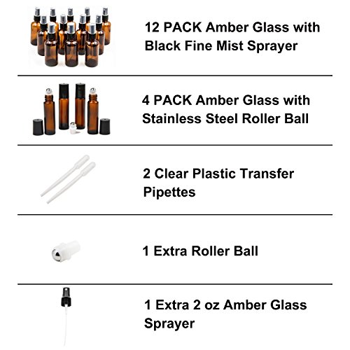 16 Pack Essential Oil Glass Bottles, 12 Black Fine Mist Amber Glass Spray Bottles (2OZ), 4 Amber Stainless Steel Roller Bottles (0.34OZ), 2 Clear Plastic Transfer Pipettes by Youngever (Image #1)