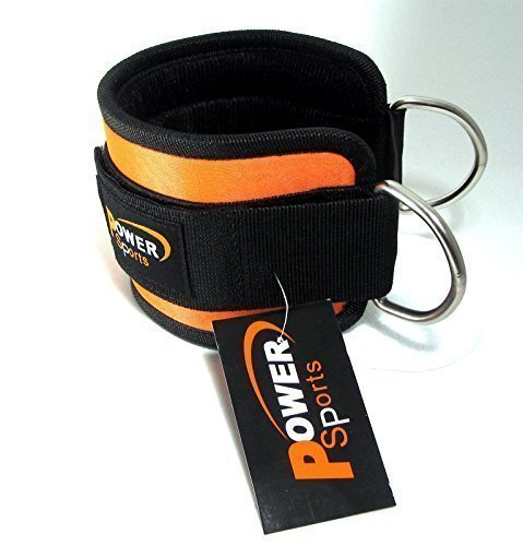GYM Ankle Strap NEOPRENE 'Black/Orange Single' For Cable Machine Attachment, Multi Gym Attachment Physio,Yoga,Rehab, Ankle by POWER SPORTS