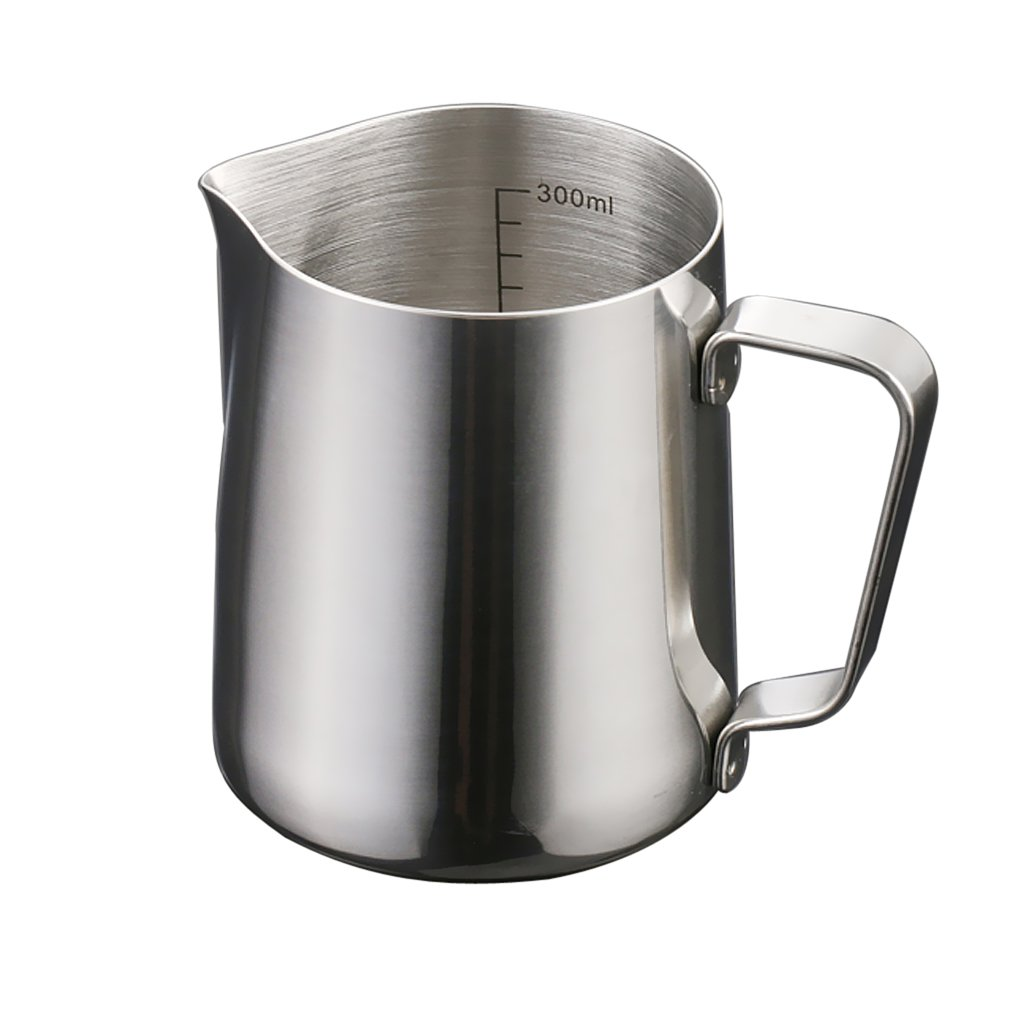 MonkeyJack Milk Frothing Pitcher,Professional Milk Frothing Pitchers, Stainless Steel Froth Pouring Jug, Milk Frother Cup With Measurement Scales, Milk Pitcher for Tea, Coffee and Latte Art,350ml