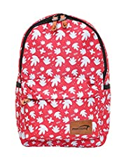 Mintra Polyester Zip-Closure Front-Pocket Waterproof Unisex School Backpack - Pink and White