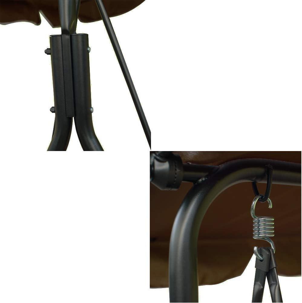 Beige BAKAJI Dondolo da Giardino 3 Posti con Tetto Parasole Regolabile Struttura in Acciaio Seduta in Tessuto Oxford Dimensioni 170 x 110 x 153 cm