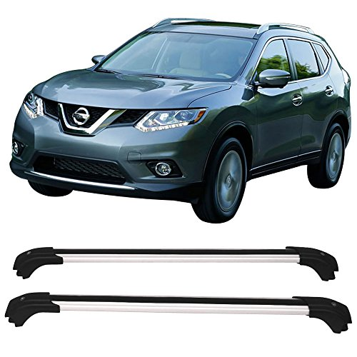 Crossbars Fits 2014-2017 Nissan Rogue | Factory Fit Luxury Style Cross Bar Roof Rack Black Cap Set By IKON MOTORSPORTS | 2015 2016