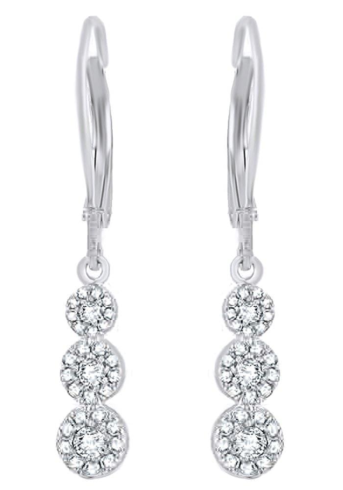 Weißszlig; natürlicher Diamant Drei Stone Cluster Ohrringe In Tropfenform 14 ct 585 Weißszlig; Gold massiv (0,5 cttw 14 Karat (585) WeißGold