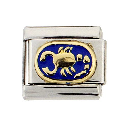 Stainless Steel 18k Gold Scorpio Zodiac Sign Charm for Italian Charm (Italian Zodiac Sign Bracelet)