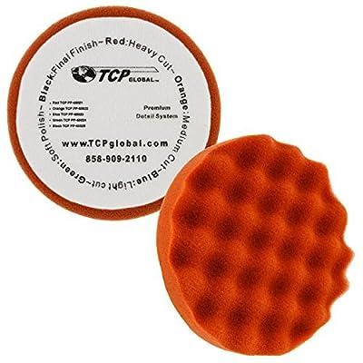 "TCP Global 6.5"" Red Waffle Heavy Cut Grip Foam Polish Buff Pad - DA Hook & Loop: Automotive"