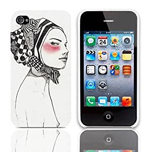 GJY Woman Askant Pattern Hard Case with 3-Pack Screen Protectors for iPhone 4/4S