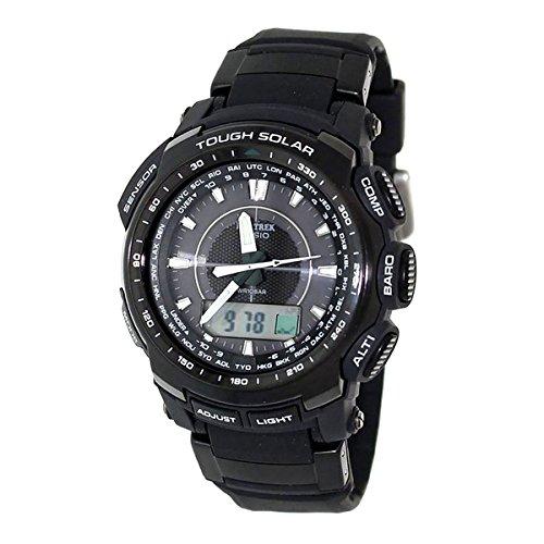 Casio Men's Protrek PRG510-1 Black Rubber Quartz Watch with Digital Dial (Dial Watch Black Sensor Triple)