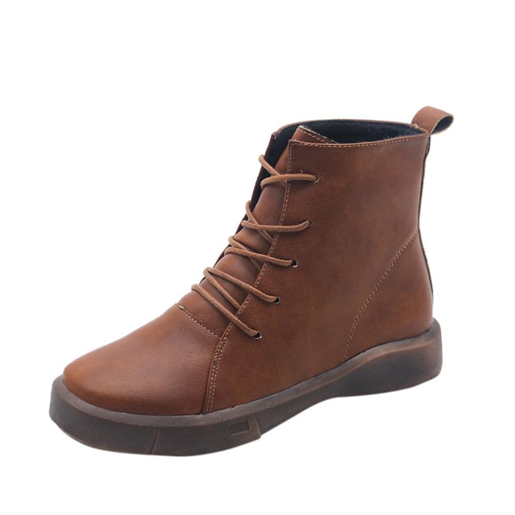 Hiroo Mujer Botines Cortos Vendaje Botines Botas de tacón Cuadrado Prewalker Antideslizante Vendaje Botines Zapatos Planos Caminar cómodo Zapatos de Ocio