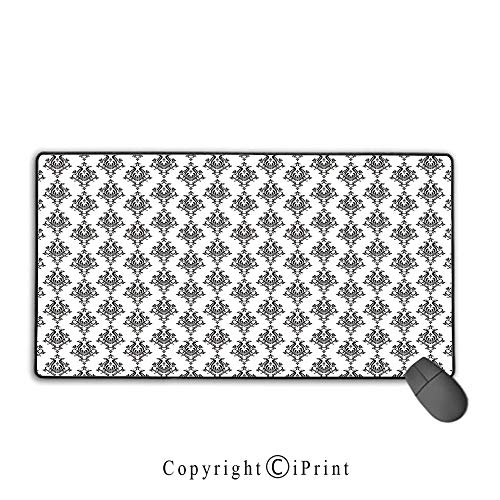 - Extended Gaming Mouse pad with Stitched Edges,Damask,Baroque Style Victorian Renaissance Pattern with Arabesque Effects Vintage Design,Black White,Premium Textured Fabric, Non-Slip Rubber Base,9.8