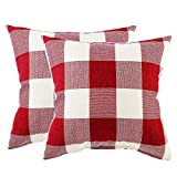 JUMUU Pack of 2, Classic Retro Checkers Plaids Cotton Linen Soft Soild Christmas Decorative Square Throw Pillow Covers Home Decor Design Set Cushion Case for Sofa Bedroom Car (45x45cm, Plaids red+white)