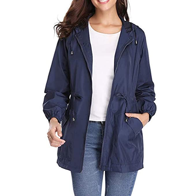 Huicai Mujeres Casual Exterior Impermeable Outwear Chaqueta Impermeable Mujer al Aire Libre Suave con Capucha Mujer