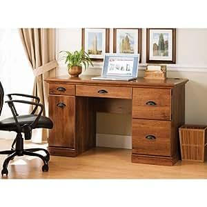 Amazon Com Oak Wood Computer Desk With Chair Cut Out