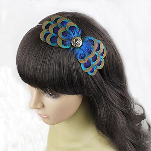 Natural Peacock Feather Fascinator Wedding Hair Clip (Blue)