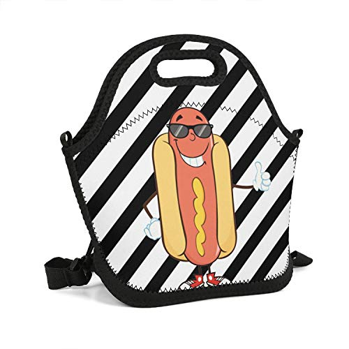 rrr Hot Dog Clipart Bad Food Lunch Bag Heavy-Duty Zipper Thermos Cute Cooler Cooler Printing Box