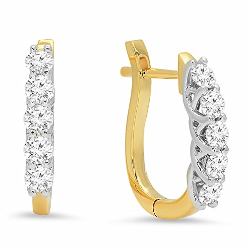 Dazzlingrock Collection 0.55 Carat (ctw) 14K Round Cut White Diamond Ladies Huggies Hoop Earrings 1/2 CT, Yellow Gold ()