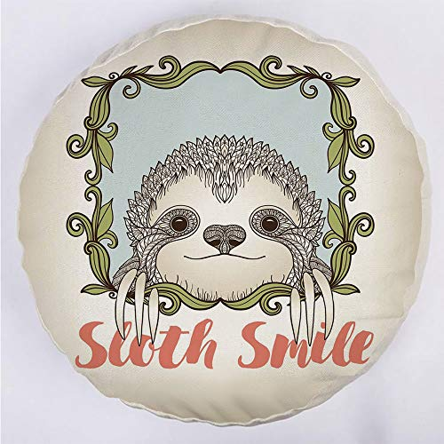 Round Decorative Throw Pillow Floor Meditation Cushion Seating/Exotic Animal in Floral Frame Sloth Smile Theme with Cute Mammal Portrait Decorative/for Home Decoration 17