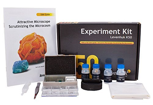 Levenhuk K50 Experiment Kit for Microscope Observations (User Guide, Forceps, Dropper, Blank Slides, Prepared Slides, Flasks with Yeast, Brine Shrimp, Sea Salt and Pitch Included) by Levenhuk