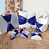 Wedding Flower Girl Basket Rings For Ring Bearer Pillow Garter Guest Book Pen Wedding Set Decoration Ribbon Ceremony Party Favors For Guests (Royal Blue With Accessory)