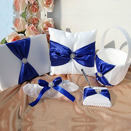 Wedding Flower Girl Basket Rings For Ring Bearer Pillow Garter Guest Book Pen Wedding Set Decoration Ribbon Ceremony Party Favors For Guests (Royal Blue With Accessory) by Gold Fortune
